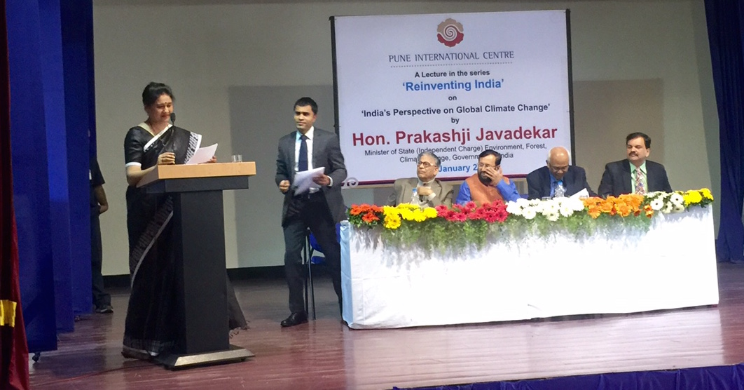 Harmony Consultants | Pallavi compeering at an event graced by Mr. Prakash Javadekar MOS (IC) for Environment, Forest & Climate Change, Government of India